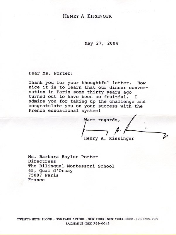 Letter from Dr. Henry Kissinger