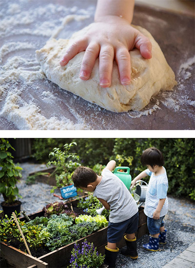 Montessori kids making bread and gardening